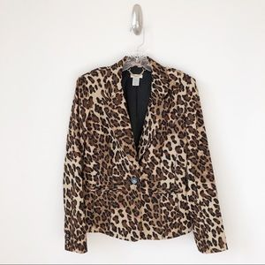 Cache Leopard Print One Button Lined Blazer